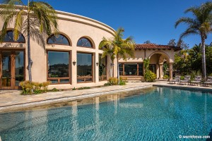 luxury home pool with canyon views and lanai